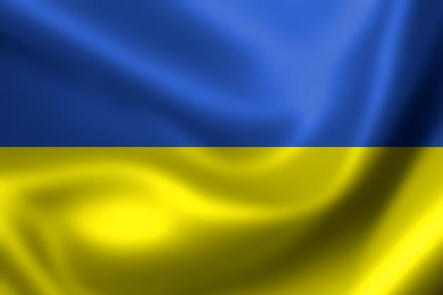 Bandiera ucraina, rendering tridimensionale, trama satinata