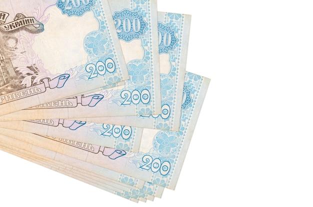 Le fatture ucraine di hryvnias si trovano in piccolo mazzo o pacchetto isolato su bianco