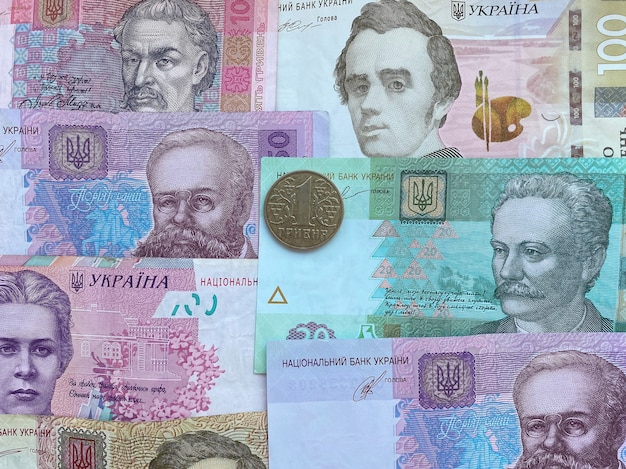 Struttura dei soldi ucraini da diverse note. valuta dell'ucraina.