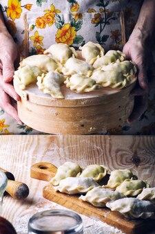 Prodotti da forno tradizionali ucraini - realizzazione di pierogie da mani femminili. stile rustico. foto retrò