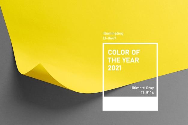 Ultimi colori grigi e illuminanti dell'anno 2021. tavolozza di tendenza dei colori. sfondo elegante