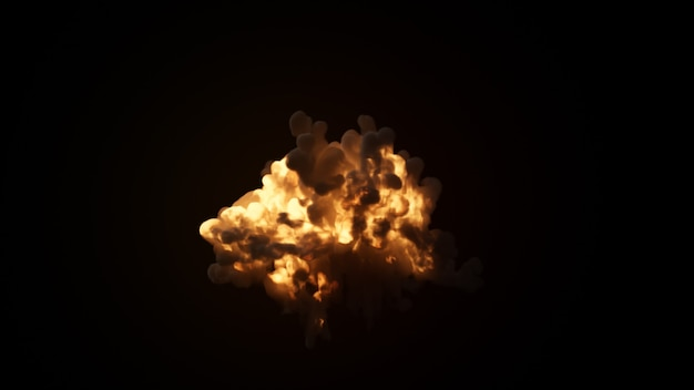 Esplosione ultra realistica con denso fumo nero su uno sfondo nero isolato