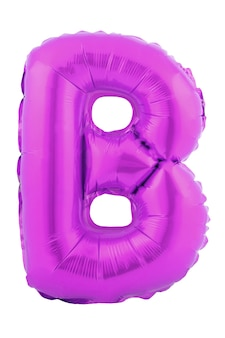 Lettera di colore ultra viola b fatta di palloncino gonfiabile isolato su sfondo bianco