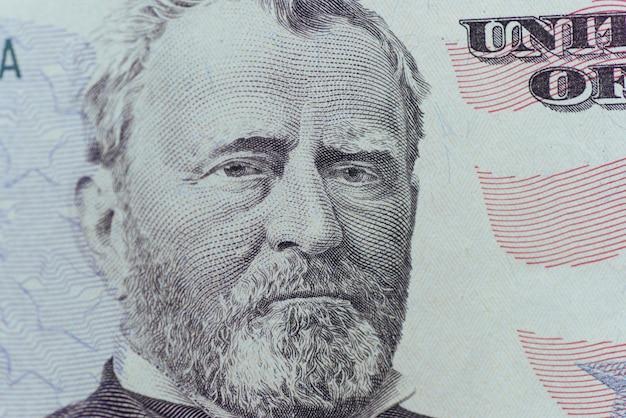 Ulysses grant sugli stati uniti cinquanta persone o cinquanta bill macro closeup ci fa soldi