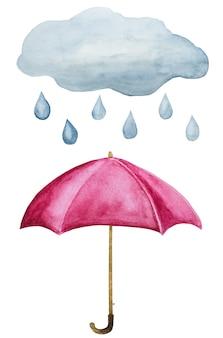 Ombrello e nuvola con gocce di pioggia