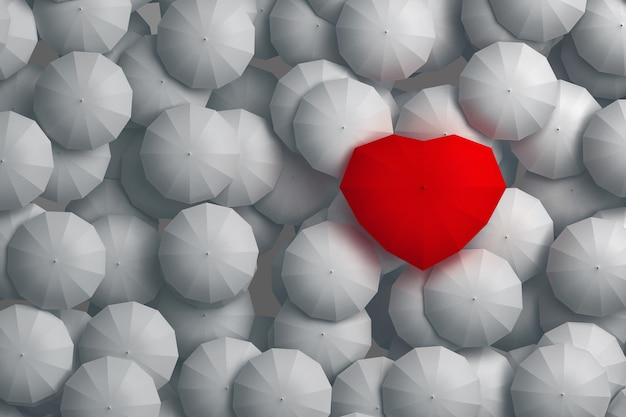 Ombrello a forma di cuore che svetta sugli altri ombrelli. illustrazione 3d