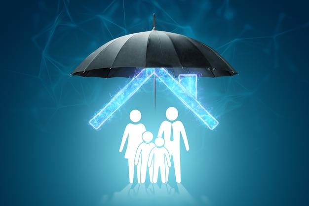 L'ombrello protegge la casa e le figurine della famiglia. il concetto di protezione della famiglia