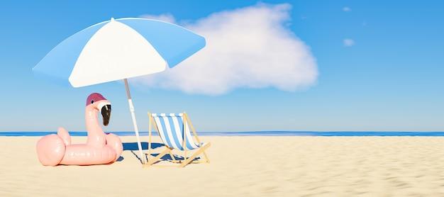 Ombrellone con galleggiante fenicottero e sedia sulla spiaggia di sabbia con il mare sullo sfondo