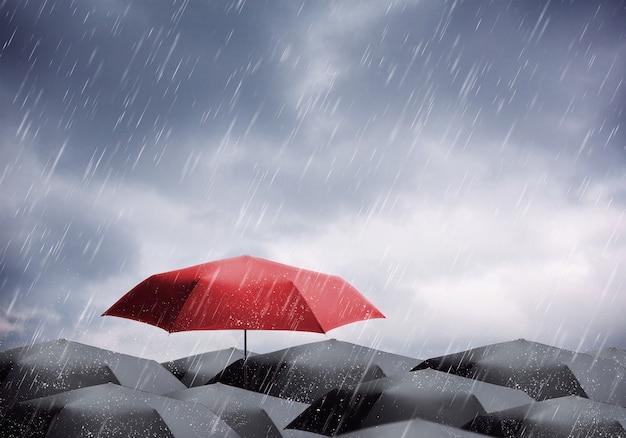 Ombrelloni sotto la pioggia e il temporale