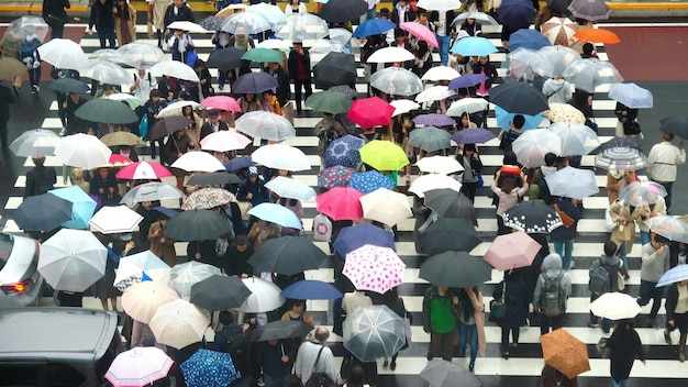 La folla di giapponesi non definiti sta camminando per attraversare la strada