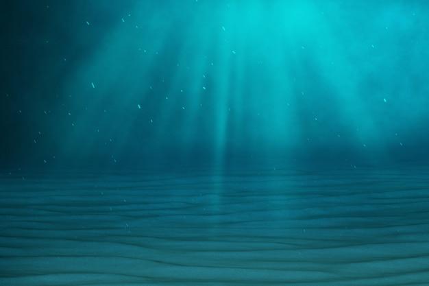 Fondo blu subacqueo in mare, oceano, con la luce del volume. rendering 3d