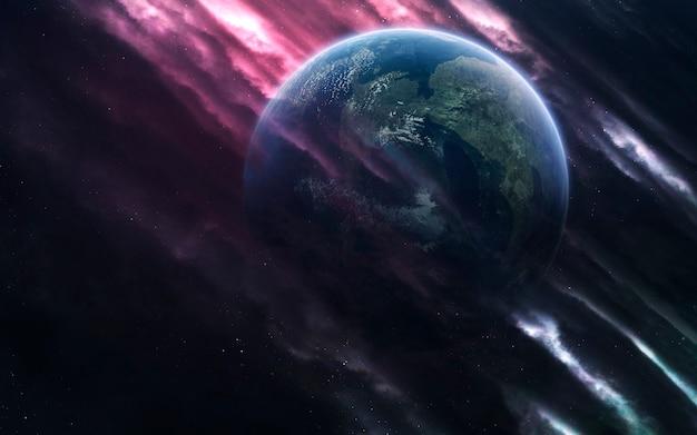 Pianeti inesplorati di spazio lontano. immagine dello spazio profondo, fantasy di fantascienza in alta risoluzione ideale per carta da parati e stampa. elementi di questa immagine forniti dalla nasa
