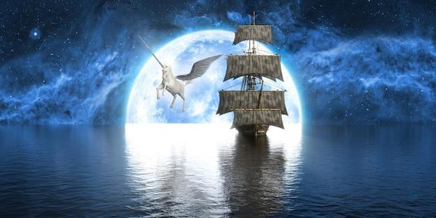 Unicorno vicino alla nave sullo sfondo di una grande luna piena, illustrazione 3d