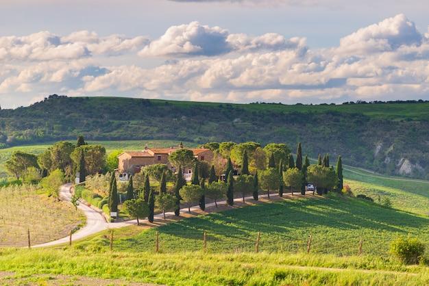 Paesaggio verde unico in val d'orcia, toscana, italia. drammatico cielo al tramonto, strada sterrata e fattoria in collina coltivata e campi coltivati a cereali.