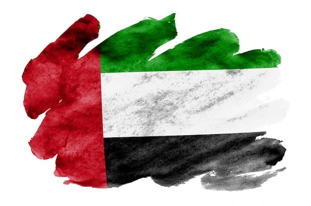 La bandiera degli emirati arabi uniti è raffigurata in stile acquerello liquido isolato su bianco