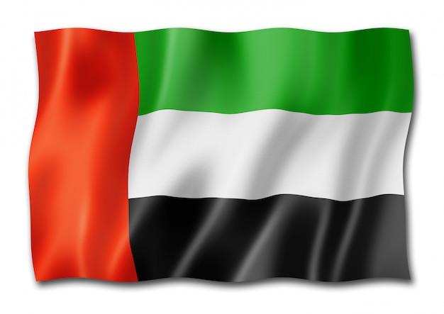 Bandiera degli emirati arabi uniti isolata su bianco