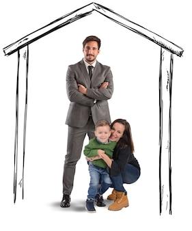 Famiglia unita e felice in una casa