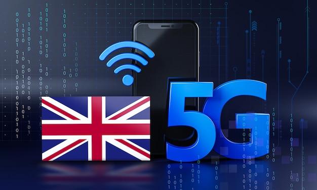 Regno unito pronto per il concetto di connessione 5g. sfondo di tecnologia smartphone rendering 3d