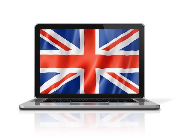 Regno unito, bandiera del regno unito sullo schermo del laptop isolato su bianco. rendering di illustrazione 3d.
