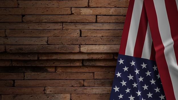 La bandiera degli stati uniti d'america sul muro di mattoni per il concetto di festa dell'indipendenza 3d rendering
