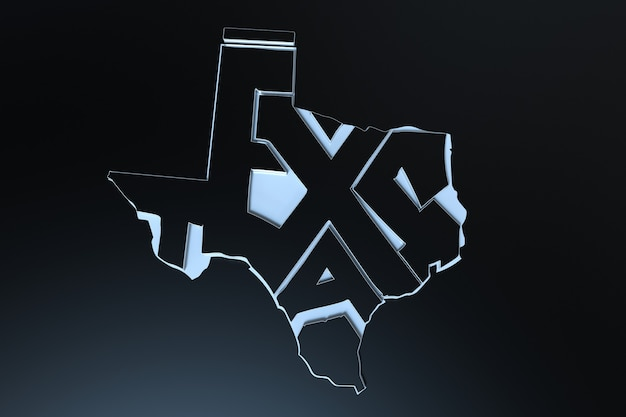 Stati uniti d'america geografia mappa scritte 3d render del territorio del texas