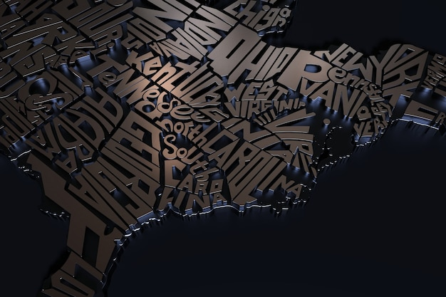 Stati uniti d'america geografia mappa scritte 3d render del territorio usa con nichel texture nickel
