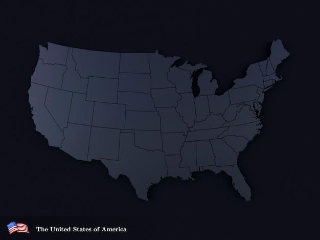 Mappa degli stati uniti d'america in colore nero rendering 3d realistico del territorio usa usa