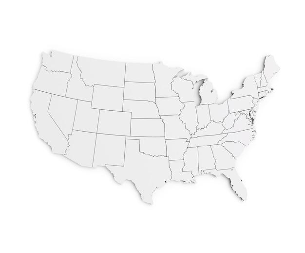 Mappa degli stati uniti d'america isolata su bianco rendering 3d realistico di chiaro territorio usa
