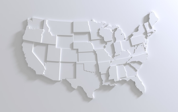 Mappa degli stati uniti d'america su sfondo bianco rendering 3d a più livelli del territorio usa vuoto