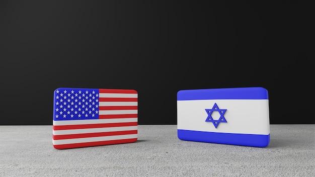 Bandiera quadrata degli stati uniti d'america con bandiera quadrata di israele, rendering 3d