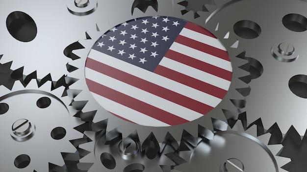 Bandiera degli stati uniti con ingranaggi