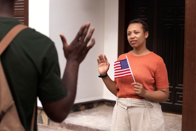 Soldato degli stati uniti in partenza dalla sua famiglia