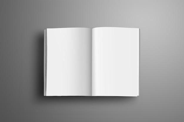 Brochure a4, (a5) aperta in bianco universale con morbide ombre realistiche isolate su superficie grigia. vista dall'alto.