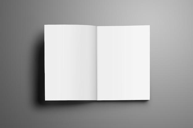Rivista universale aperta in bianco a4, (a5) con morbide ombre realistiche isolate su superficie grigia. brochure aperta in prima pagina e utilizzabile per la tua vetrina.
