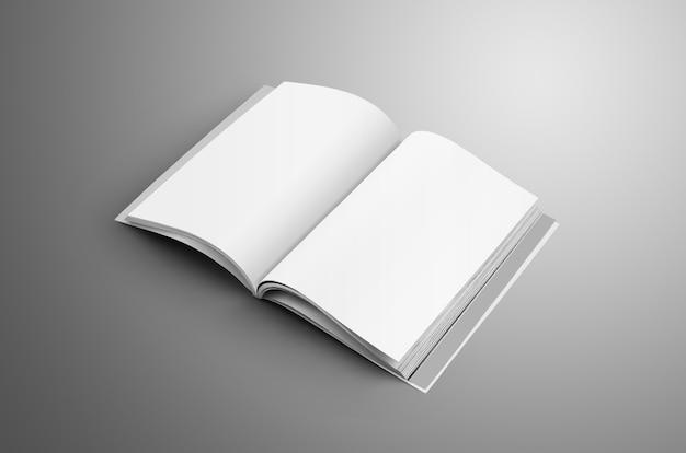 Rivista universale aperta in bianco a4, (a5) con morbide ombre realistiche isolate su superficie grigia.