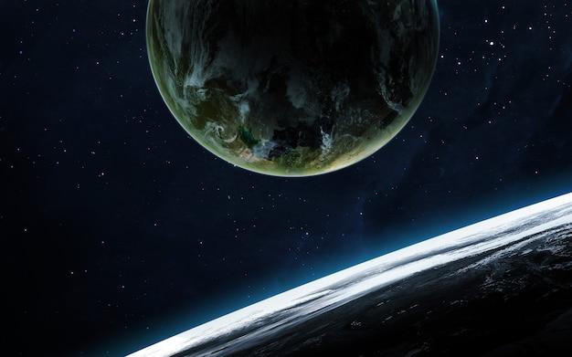Scena dell'universo con pianeti, stelle e galassie nello spazio esterno che mostrano la bellezza dell'esplorazione spaziale.