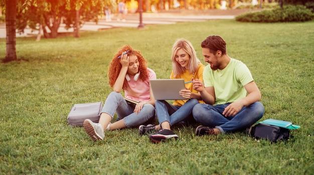Studenti universitari che utilizzano laptop mentre fanno i compiti nel parco