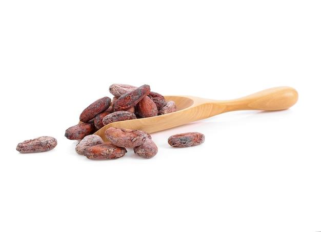 Fave di cacao non sbucciate in un cucchiaio di legno su bianco