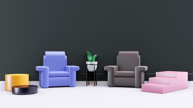 Scena interna 3d non realistica con divano, scale, foglia, vaso per piante