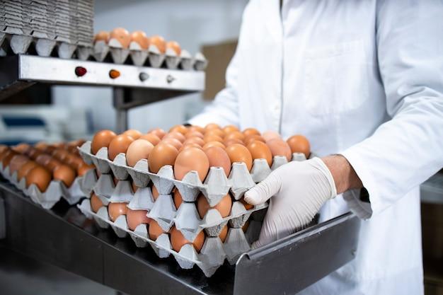 Irriconoscibile operaio di fabbrica alimentare in camice bianco e guanti igienici che tengono casse piene di uova fresche pronte per l'imballaggio e la distribuzione.