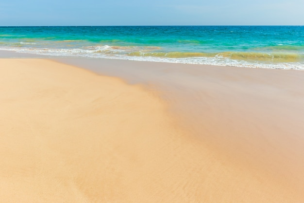 Spiaggia tropicale incontaminata nello sri lanka con sabbia bianca e acqua blu