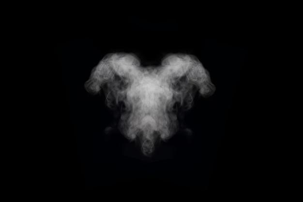 Forma insolita di vari fumi bianchi e vapori isolati su sfondo nero, copia dello spazio. sfondo astratto di nebbia o smog, elemento di design per la tua immagine, layout per collage.