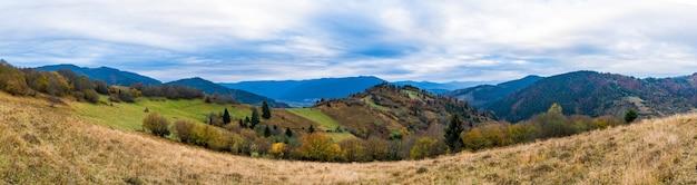 Natura insolitamente bella delle montagne dei carpazi in splendide colline