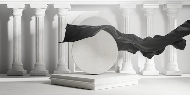 Svela la copertura in tessuto nero dai pilastri delle colonne classiche in pietra rotonda. rendering 3d del modello di mockup di spazio vuoto