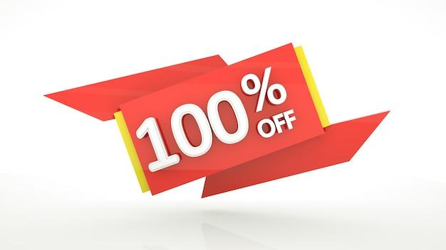 Offerta speciale fino al 100% banner con cifre rosse 3d numeri rossi gialli bianchi lucidi