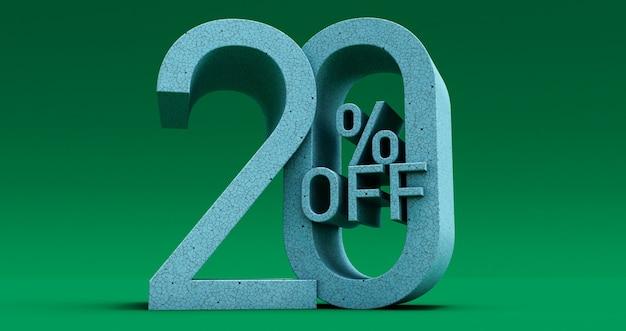 Fino al 20% di sconto offerta speciale, vendita fino a venti 20% di sconto, rendering 3d