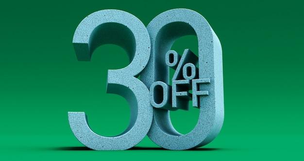 Fino al 30% di sconto offerta speciale, vendita fino al 30% di sconto su sfondo verde, rendering 3d