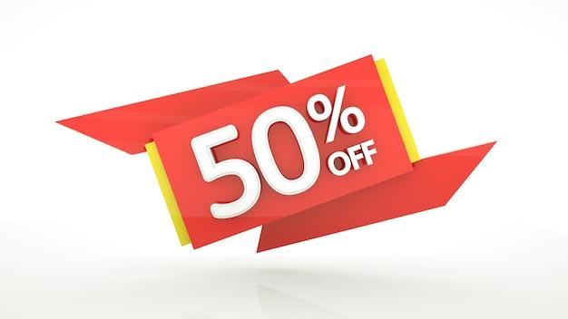 Fino al 50 percento di sconto sul modello di banner con cifre rosse rendering 3d cinquanta percento buono sconto vendita