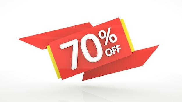 Fino al 70 percento di sconto sul modello 3d per l'offerta speciale settanta percento rosso giallo bianco numeri lucidi