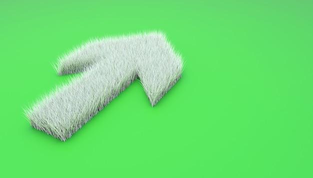 Simbolo della freccia verso l'alto da erba bianca. illustrazione 3d isolata su verde.